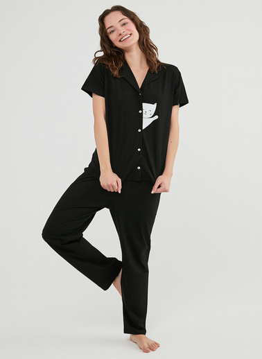 Penti Kadın Siyah Hello Cat Ss  Pijama Takım PNYDE33421IY Siyah